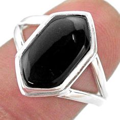Clearance Sale- 5.36cts hexagon natural black onyx 925 silver solitaire ring size 7.5 t48593