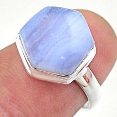 5.71cts hexagon natural blue lace agate 925 silver solitaire ring size 6 t48226