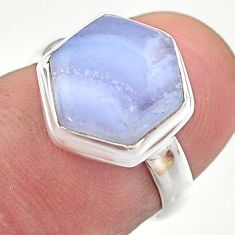 5.47cts hexagon natural blue lace agate 925 silver solitaire ring size 6 t48230