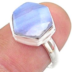 6.09cts hexagon natural blue lace agate 925 silver solitaire ring size 7 t48227