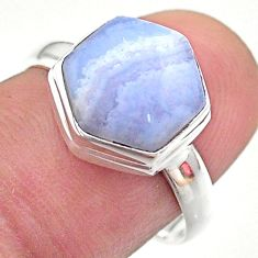 5.71cts hexagon natural blue lace agate 925 silver solitaire ring size 8 t48239