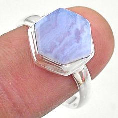 5.22cts hexagon natural blue lace agate 925 silver solitaire ring size 9 t48232