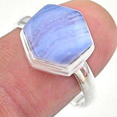 6.04cts hexagon natural blue lace agate 925 silver solitaire ring size 9 t48234