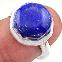 6.32cts hexagon natural blue lapis lazuli silver solitaire ring size 7 t48306