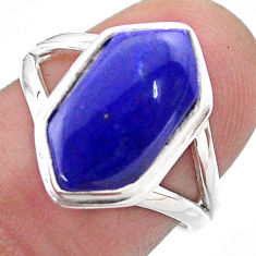 5.63cts hexagon natural blue lapis lazuli silver solitaire ring size 7 t48567