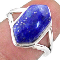 5.62cts hexagon natural blue lapis lazuli silver solitaire ring size 7 t48573