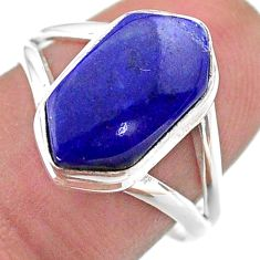 5.06cts hexagon natural blue lapis lazuli silver solitaire ring size 8 t48611