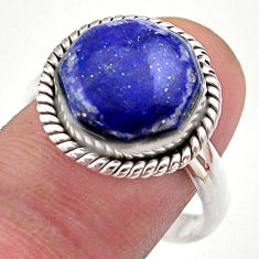 6.54cts hexagon natural blue lapis lazuli silver solitaire ring size 9 t48389