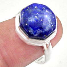 6.55cts hexagon natural blue lapis lazuli silver solitaire ring size 7.5 t48333