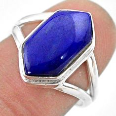 6.05cts hexagon natural blue lapis lazuli silver solitaire ring size 7.5 t48521
