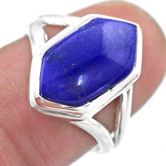 5.87cts hexagon natural blue lapis lazuli silver solitaire ring size 6.5 t48526