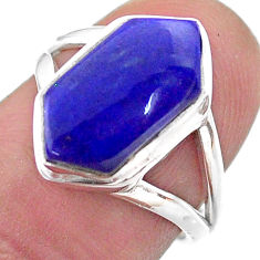 5.38cts hexagon natural blue lapis lazuli silver solitaire ring size 6.5 t48557
