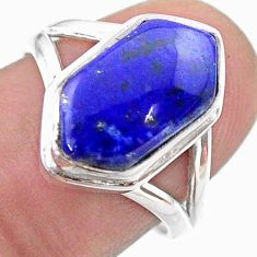 6.02cts hexagon natural blue lapis lazuli silver solitaire ring size 7.5 t48570