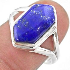 5.63cts hexagon natural blue lapis lazuli silver solitaire ring size 8.5 t48572