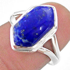5.39cts hexagon natural blue lapis lazuli silver solitaire ring size 7.5 t48592