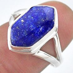 5.54cts hexagon natural blue lapis lazuli silver solitaire ring size 7.5 t48599