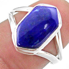 5.23cts hexagon natural blue lapis lazuli silver solitaire ring size 7.5 t48610