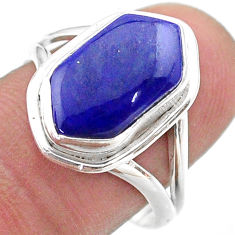 5.38cts hexagon natural blue lapis lazuli silver solitaire ring size 8.5 t48642