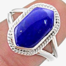 5.10cts hexagon natural blue lapis lazuli silver solitaire ring size 7.5 t48656