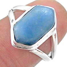 5.83cts hexagon natural blue owyhee opal 925 silver solitaire ring size 7 t48533