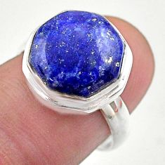 7.53cts hexagon natural brown lapis lazuli silver solitaire ring size 7 t48305