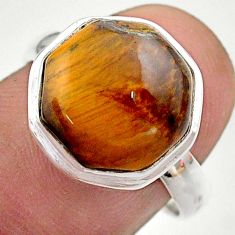 6.98cts hexagon natural brown tiger's eye silver solitaire ring size 8 t48285