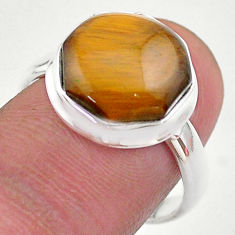 6.70cts hexagon natural brown tiger's eye silver solitaire ring size 8 t48381