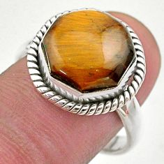6.53cts hexagon natural brown tiger's eye silver solitaire ring size 9 t48383