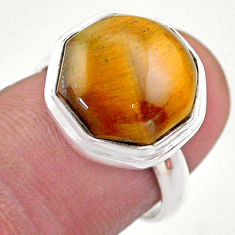 6.84cts hexagon natural brown tiger's eye silver solitaire ring size 6.5 t48326