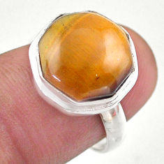 6.33cts hexagon natural brown tiger's eye silver solitaire ring size 6.5 t48330