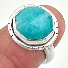7.04cts hexagon natural green amazonite 925 silver solitaire ring size 6 t48361