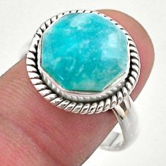 6.51cts hexagon natural green amazonite 925 silver solitaire ring size 9 t48362