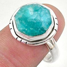 6.82cts hexagon natural green amazonite 925 silver solitaire ring size 9 t48363