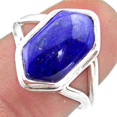 5.62cts hexagon natural lapis lazuli 925 silver solitaire ring size 7 t48579