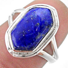 5.09cts hexagon natural lapis lazuli 925 silver solitaire ring size 7 t48630
