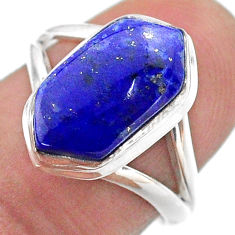 5.10cts hexagon natural lapis lazuli 925 silver solitaire ring size 7.5 t48636