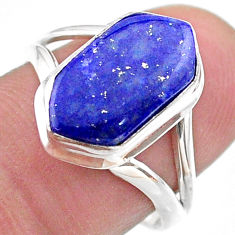 4.75cts hexagon natural lapis lazuli 925 silver solitaire ring size 7.5 t48641