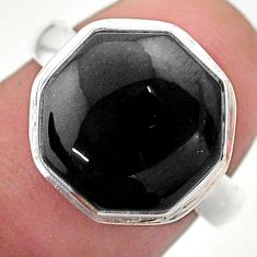 Clearance Sale- 6.83cts hexagon natural onyx 925 sterling silver solitaire ring size 7 t48319