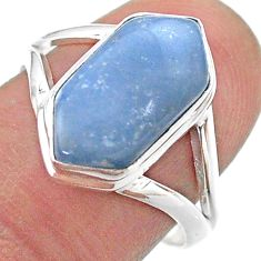5.24cts hexagon natural owyhee opal 925 silver solitaire ring size 8.5 t48609