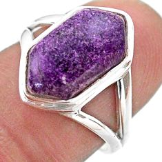 6.05cts hexagon natural phosphosiderite silver solitaire ring size 6.5 t48530