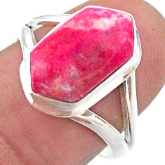 5.09cts hexagon natural pink thulite 925 silver solitaire ring size 8 t48553