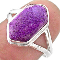 5.09cts hexagon purpurite stichtite 925 silver solitaire ring size 7.5 t48545