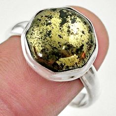 6.08cts hexagon pyrite in magnetite 925 silver solitaire ring size 9 t48350