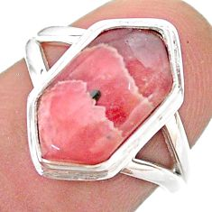 5.38cts hexagon rhodochrosite inca rose 925 silver solitaire ring size 7 t48548