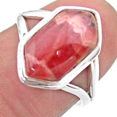5.77cts hexagon rhodochrosite inca rose 925 silver solitaire ring size 7 t48582