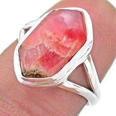 5.54cts hexagon rhodochrosite inca rose 925 silver solitaire ring size 7 t48618