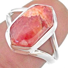 5.58cts hexagon rhodochrosite inca rose 925 silver solitaire ring size 7 t48631