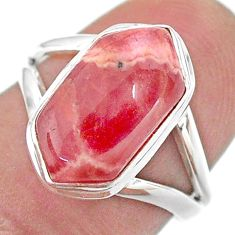 5.60cts hexagon rhodochrosite inca rose 925 silver solitaire ring size 7 t48637
