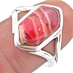 6.31cts hexagon rhodochrosite inca rose 925 silver solitaire ring size 8 t48524