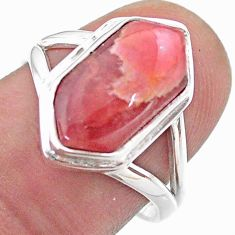 5.84cts hexagon rhodochrosite inca rose silver solitaire ring size 7.5 t48580